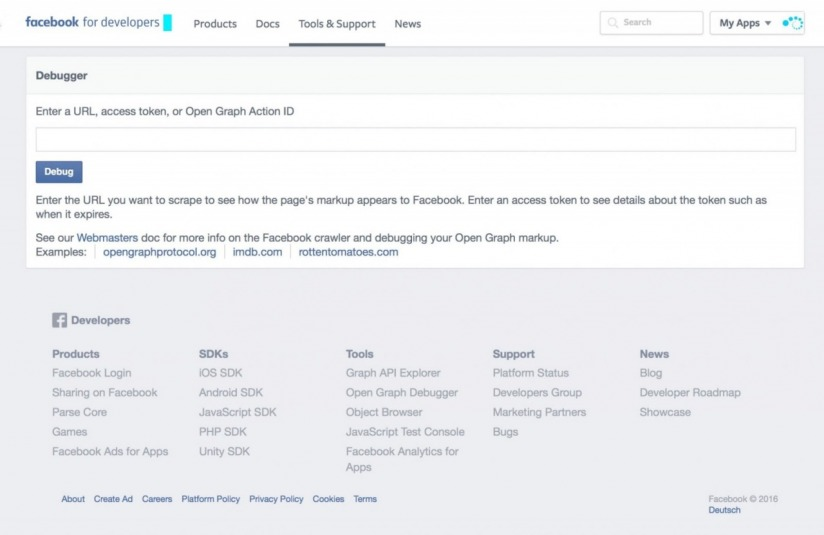 Facebook URL Debugger Screenshot