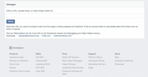 Facebook URL Debugger Screenshot