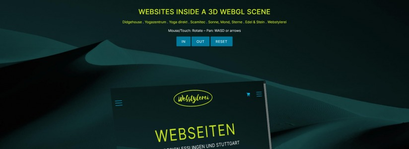 Websites in a 3D WebGL scene - Webstylerei Esslingen