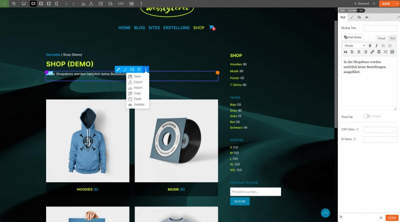 Webstylerei_Shop_mit_Page_Builder_an